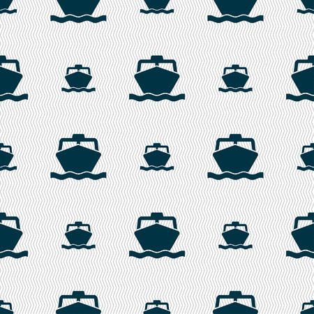 prop: the boat icon sign. Seamless pattern with geometric texture. Vector illustration Illustration