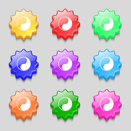 karma graphics: Yin Yang icon sign. symbol on nine wavy colourful buttons. Vector illustration