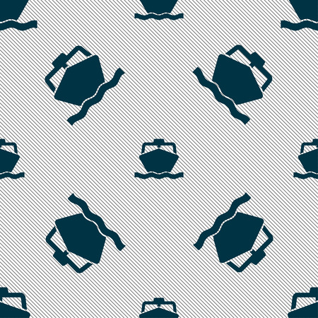 wheel guard: the boat icon sign. Seamless pattern with geometric texture. Vector illustration Illustration