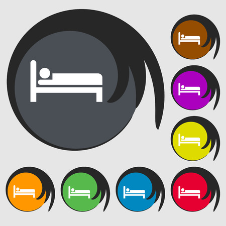 apartment bell: Hotel icon sign. Symbol on eight colored buttons. Vector illustration Illustration