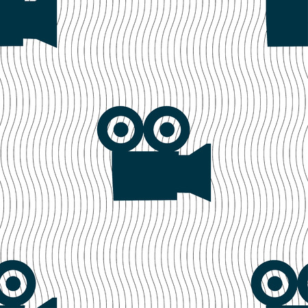 journalistic: video camera icon sign. Seamless pattern with geometric texture. Vector illustration Illustration