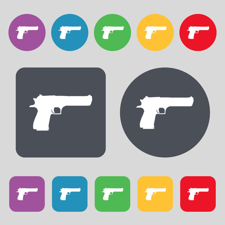 army gas mask: gun icon sign. A set of 12 colored buttons. Flat design. Vector illustration