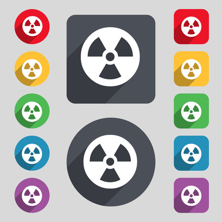 cold fusion: radiation icon sign. A set of 12 colored buttons and a long shadow. Flat design. Vector illustration Illustration