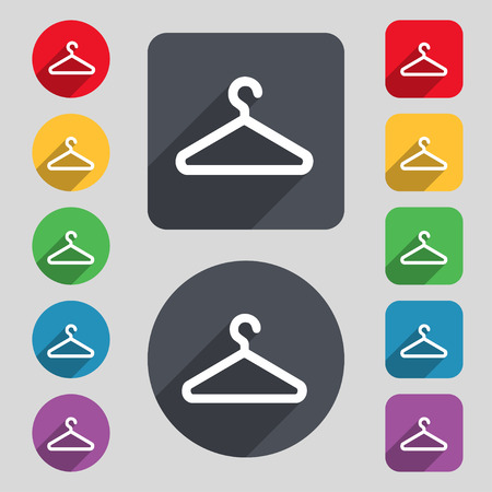 spring coat: clothes hanger icon sign. A set of 12 colored buttons and a long shadow. Flat design. Vector illustration Illustration