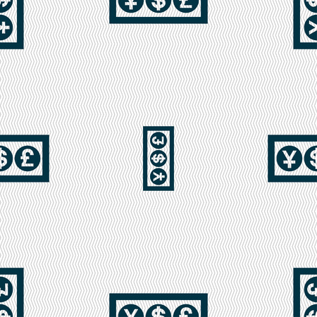 currency converter: Cash currency icon sign. Seamless pattern with geometric texture. Vector illustration