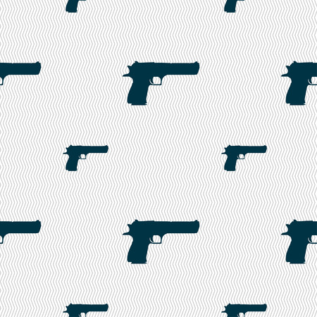 explosive gas: gun icon sign. Seamless pattern with geometric texture. Vector illustration