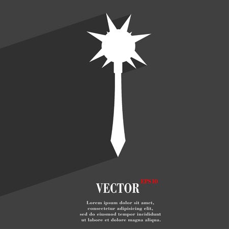 battle evil: Mace icon symbol Flat modern web design with long shadow and space for your text. Vector illustration