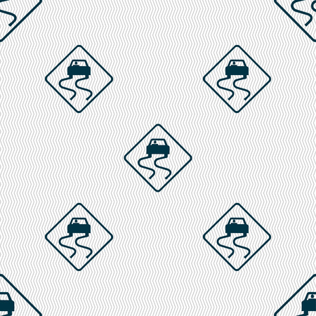 slick: Road slippery icon sign. Seamless pattern with geometric texture. Vector illustration Illustration
