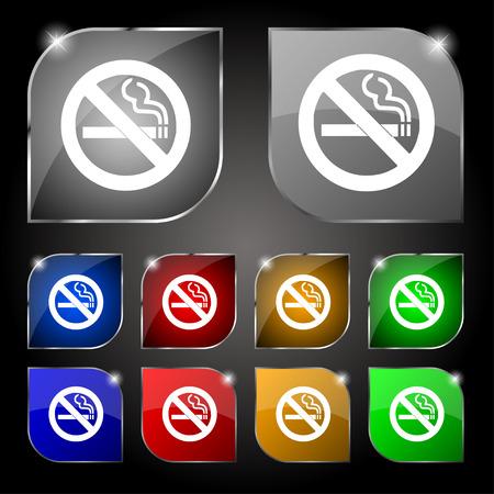 smoldering: nessun segno di icona non fumare. Set di dieci pulsanti colorati con luce vivida. Illustrazione vettoriale Vettoriali