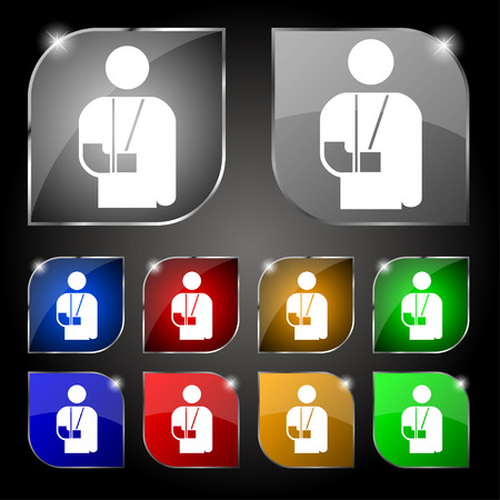 broken arm: broken arm, disability icon sign. Set of ten colorful buttons with glare. Vector illustration