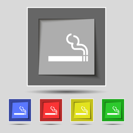 pernicious habit: cigarette smoke icon sign on original five colored buttons. Vector illustration Illustration
