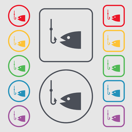 floater: Fishing icon sign. symbol on the Round and square buttons with frame. Vector illustration Illustration
