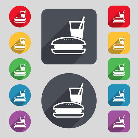 lunch box: lunch box icon sign. A set of 12 colored buttons and a long shadow. Flat design. Vector illustration