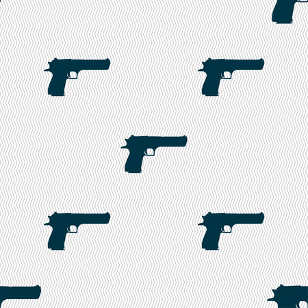 army gas mask: gun icon sign. Seamless pattern with geometric texture. Vector illustration