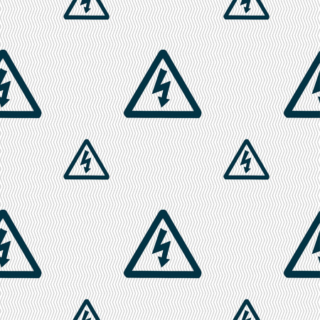 voltage icon sign. Seamless pattern with geometric texture. Vector illustration Illustration