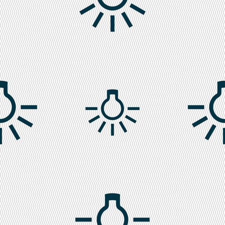 scriibble: light bulb icon sign. Seamless pattern with geometric texture. Vector illustration Illustration
