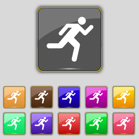 runner up: running man icon sign. Set with eleven colored buttons for your site. Vector illustration