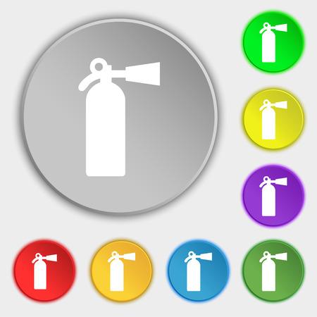 suppression: extinguisher icon sign. Symbol on five flat buttons. Vector illustration Illustration