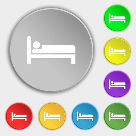 apartment bell: Hotel icon sign. Symbol on five flat buttons. Vector illustration