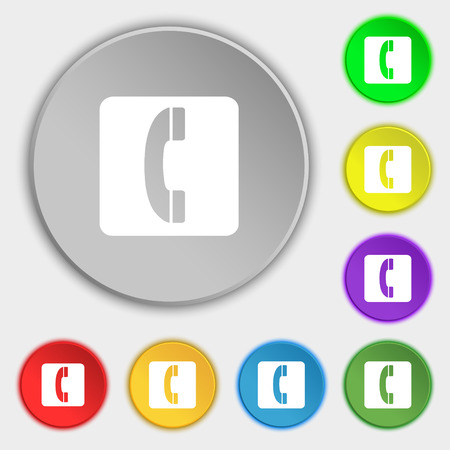 touch base: handset icon sign. Symbol on five flat buttons. Vector illustration