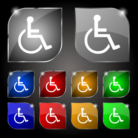 blind dog: disabled icon sign. Set of ten colorful buttons with glare. Vector illustration