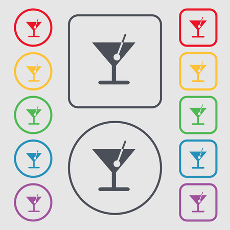spearmint: cocktail icon sign. symbol on the Round and square buttons with frame. Vector illustration Illustration