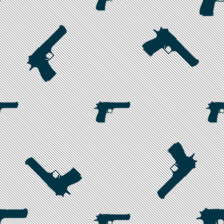 gas mask danger sign: gun icon sign. Seamless pattern with geometric texture. Vector illustration