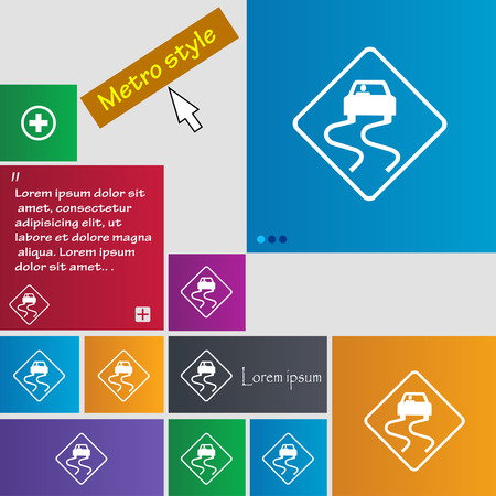 cars on road: Road slippery icon sign. buttons. Modern interface website buttons with cursor pointer. Vector illustration