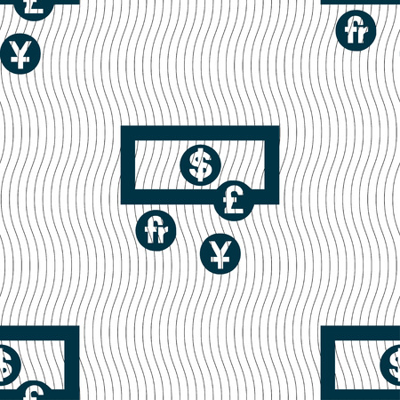 australian money: currencies of the world icon sign. Seamless pattern with geometric texture. Vector illustration