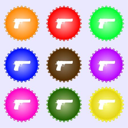 army gas mask: arma icono de signo. Un conjunto de nueve etiquetas de colores diferentes. Ilustraci�n vectorial Vectores