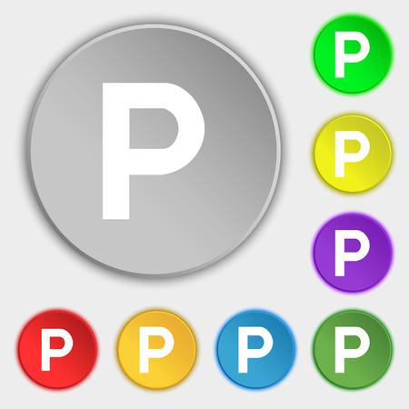 parking icon sign. Symbol on five flat buttons. Vector illustration Vettoriali