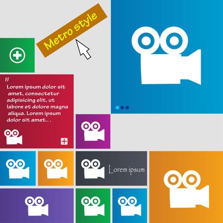 journalistic: telecamera icona segno. pulsanti. Moderni pulsanti sito interfaccia con il puntatore del cursore. Illustrazione vettoriale