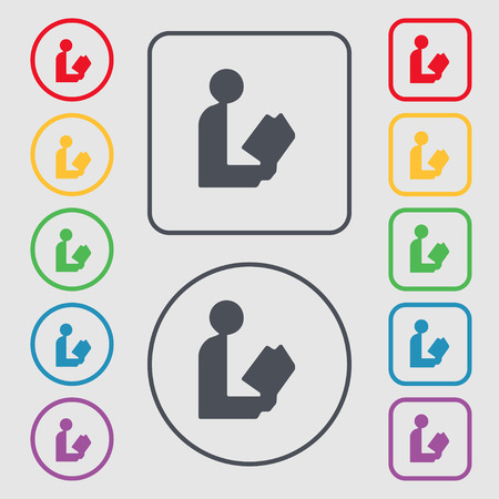 videobook: read a book icon sign. symbol on the Round and square buttons with frame. Vector illustration