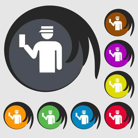 kontrolleur: Inspector-Symbol-Zeichen. Symbol auf acht farbigen Tasten. Vektor-Illustration Illustration