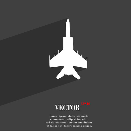 modern fighter: fighter icon symbol Flat modern web design with long shadow and space for your text. Vector illustration