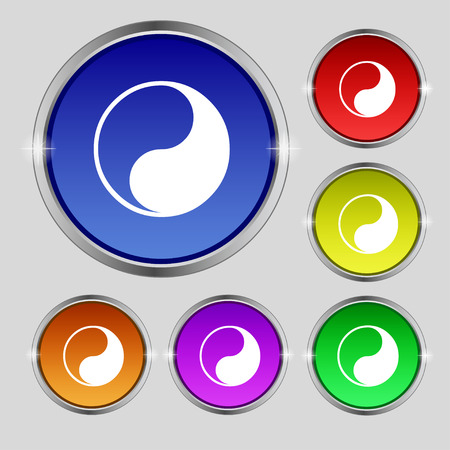 daoism: Yin Yang icon sign. Round symbol on bright colourful buttons. Vector illustration