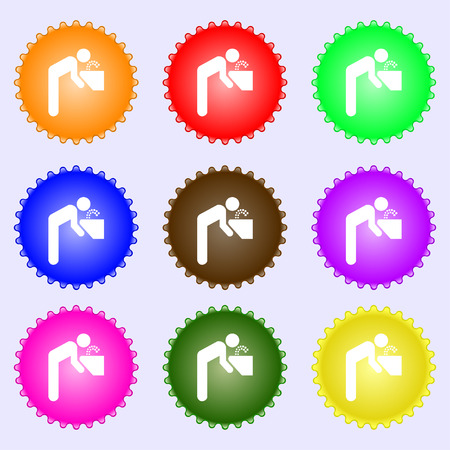 soda splash: drinking fountain icon sign. A set of nine different colored labels. Vector illustration