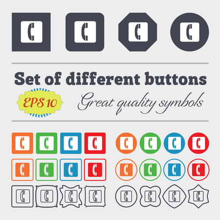 cordless phone: handset icon sign. Big set of colorful, diverse, high-quality buttons. Vector illustration Illustration