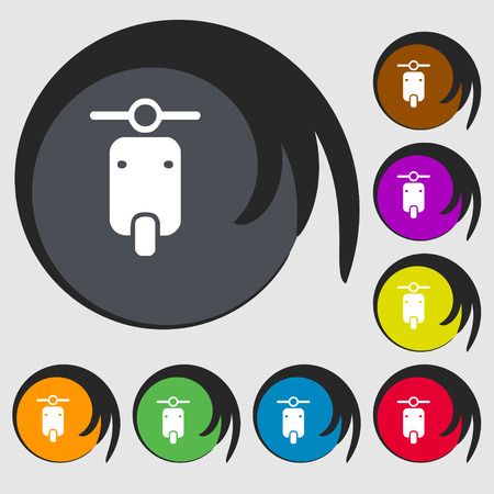 exhaust pipe: motorcycle icon sign. Symbol on eight colored buttons. Vector illustration