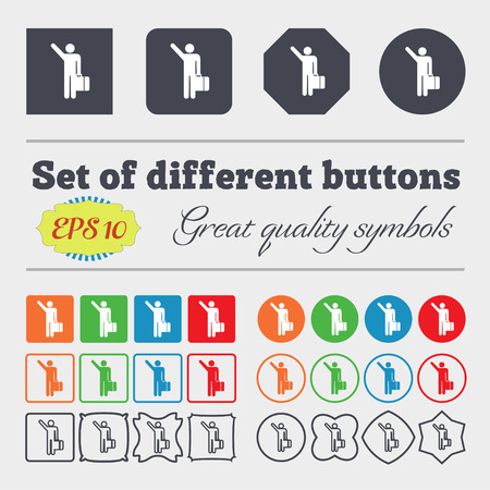 stick bug: tourist icon sign. Big set of colorful, diverse, high-quality buttons. Vector illustration Illustration