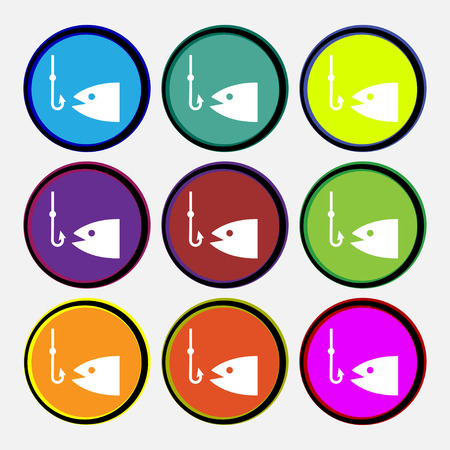 floater: Fishing icon sign. Nine multi colored round buttons. Vector illustration