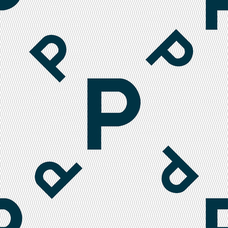 parking icon sign. Seamless pattern with geometric texture. Vector illustration