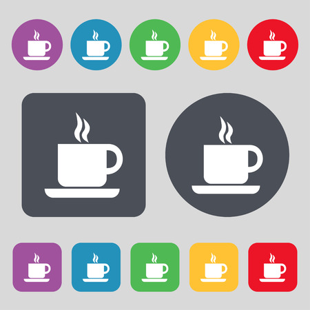 contemporary taste: coffee icon sign. A set of 12 colored buttons. Flat design. Vector illustration