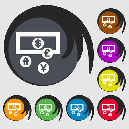 australian money: currencies of the world icon sign. Symbol on eight colored buttons. Vector illustration