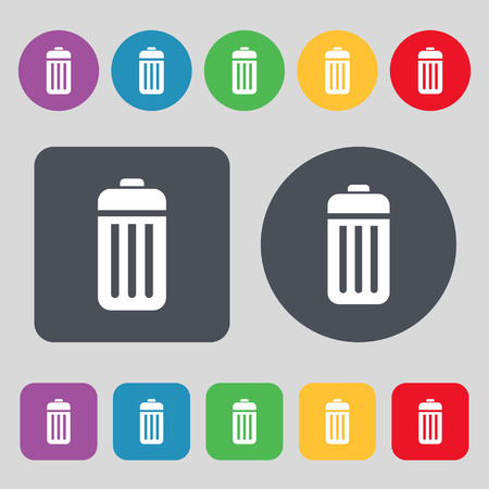 local supply: The trash icon sign. A set of 12 colored buttons. Flat design. Vector illustration