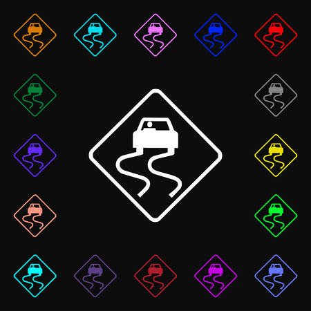 stumbling: Road slippery icon sign. Lots of colorful symbols for your design. Vector illustration