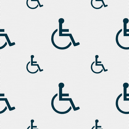 dog wheelchair: disabled icon sign. Seamless pattern with geometric texture. Vector illustration Illustration