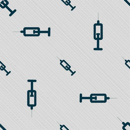 syringe icon sign. Seamless pattern with geometric texture. Vector illustration Illustration