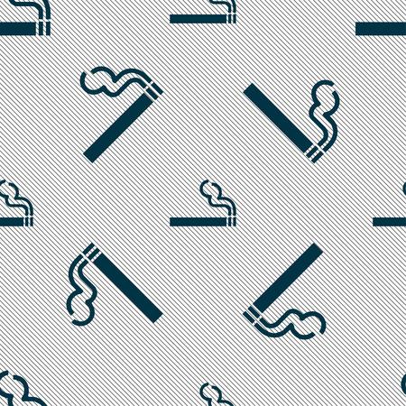 pernicious habit: cigarette smoke icon sign. Seamless pattern with geometric texture. Vector illustration Illustration