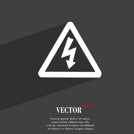 voltage symbol: voltage icon symbol Flat modern web design with long shadow and space for your text. Vector illustration Illustration